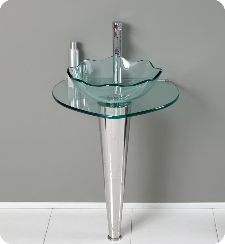 24 Netto Modern Glass Bathroom Vanity W Wavy Edge Vessel