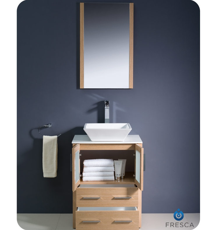 24 Torino Light Oak Modern Bathroom Vanity W Vessel Sink Platinum Bath