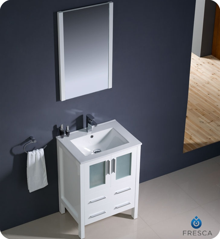 ... Torino White Modern Bathroom Vanity w/ Integrated Sink Platinum Bath