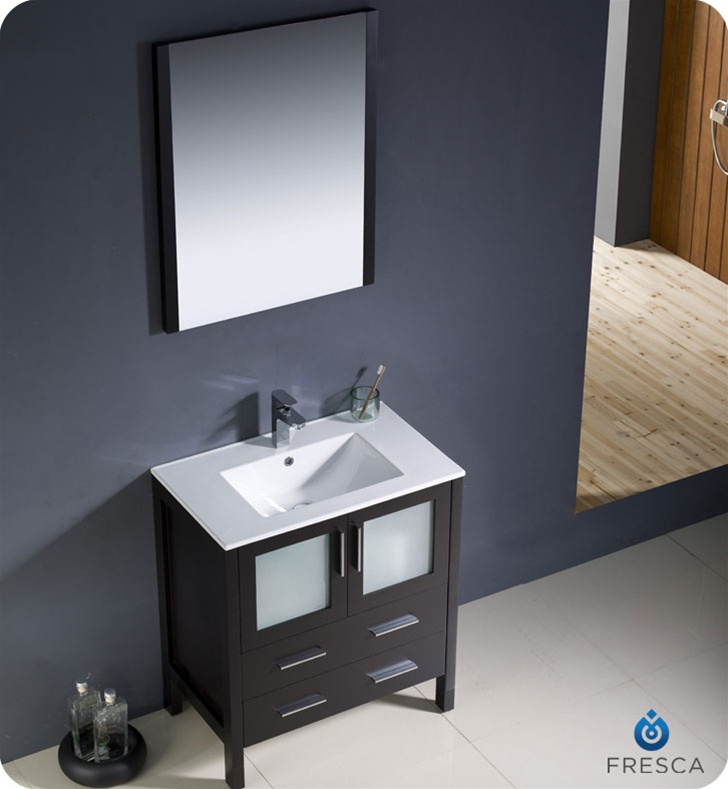 ... Espresso Modern Bathroom Vanity w/ Integrated Sink Platinum Bath