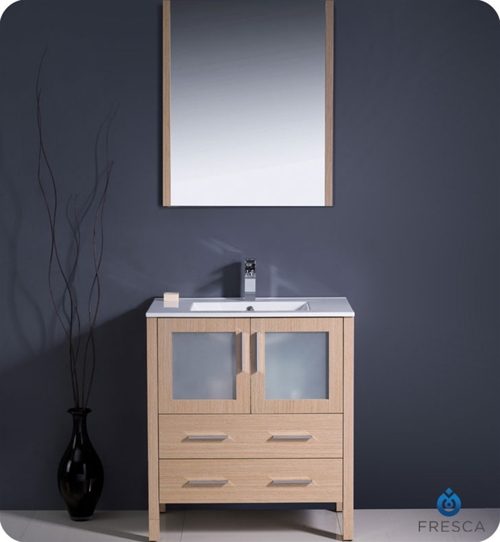 30 Torino Light Oak Modern Bathroom Vanity W Integrated Sink Platinum Bath