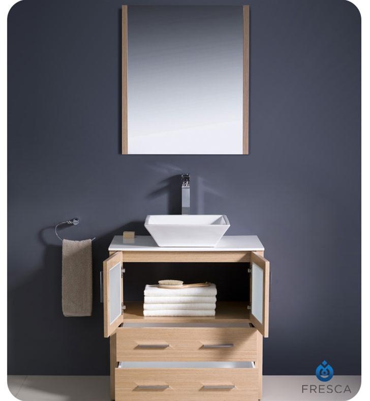 30? Torino Light Oak Modern Bathroom Vanity w/ Vessel Sink Platinum Bath