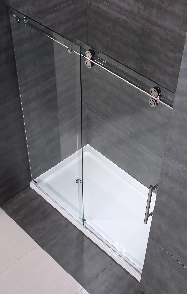 "60"" Frameless Sliding Shower Door with Tray (Round ..."