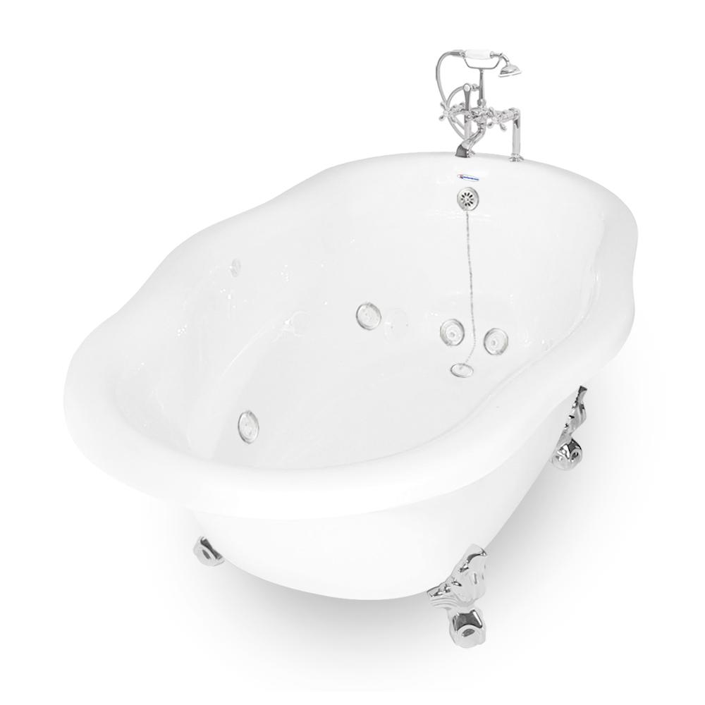 72 Whirlpool Caspian White AcraStone Package In Chrome