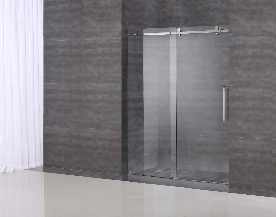 Bathroom Shower Hardware : ... Frameless 60? Sliding Shower Door (Square Hardware) Platinum Bath