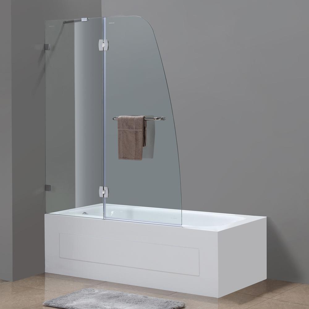 Soleil completely frameless hinge tub door platinum bath for Bathtub shower doors hardware
