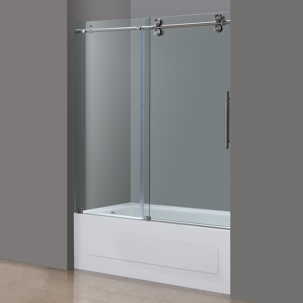 Langham Frameless Sliding Tub Height Door In Chrome Or Stainless Platinum Bath