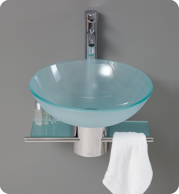 18″ Cristallino Modern Glass Bathroom Vanity w/ Frosted Vessel Sink ...