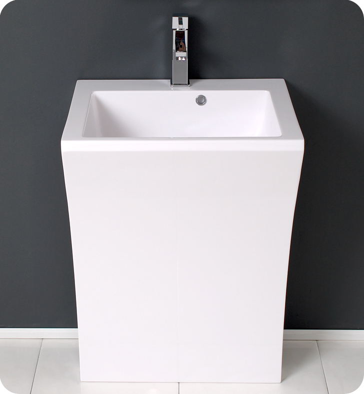 22 Quadro White Pedestal Sink Modern Bathroom Vanity Platinum Bath