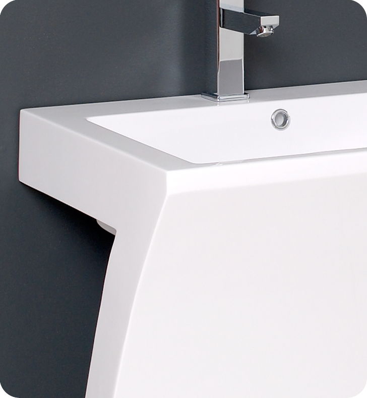 Bathroom Vanity Pedestal: 22″ Quadro White Pedestal Sink