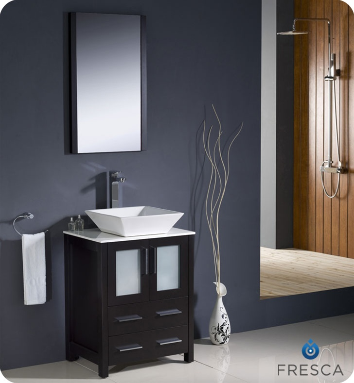 24″ Torino Espresso Modern Bathroom Vanity w/ Vessel Sink
