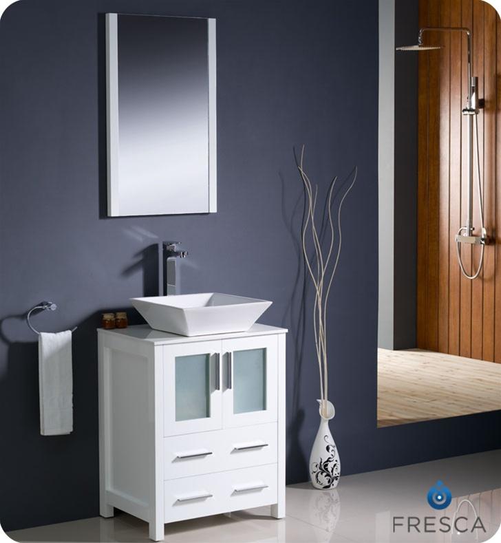 24 Inch Bathroom Vanity Combo 24″ torino white modern bathroom vanity w/ vessel sink | platinum bath