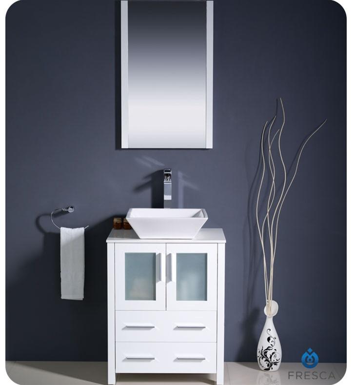 24u2033 Torino White Modern Bathroom Vanity W/ Vessel Sink
