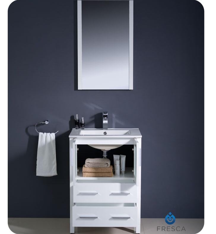 24 Torino White Modern Bathroom Vanity W Integrated Sink
