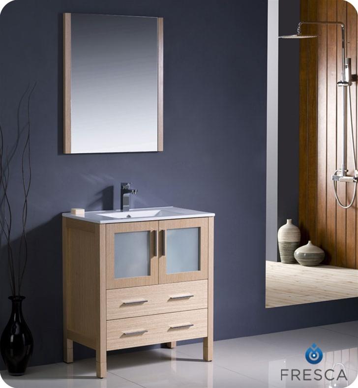 30 Torino Light Oak Modern Bathroom Vanity W Integrated Sink Platinum Bath