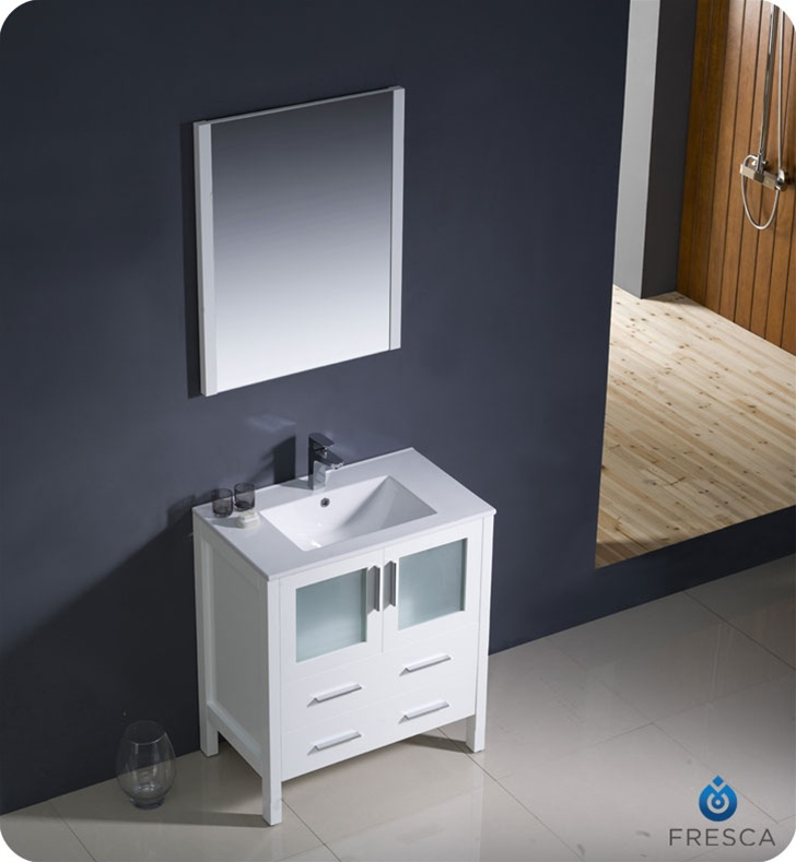 30 Torino White Modern Bathroom Vanity W Integrated Sink Platinum Bath