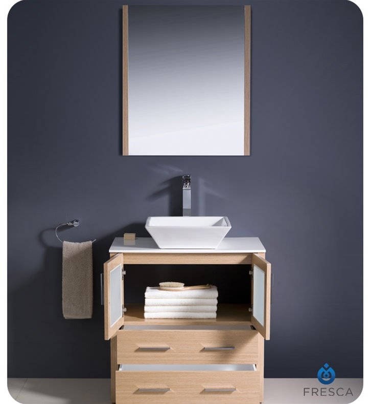 30 Torino Light Oak Modern Bathroom Vanity W Vessel Sink Platinum Bath
