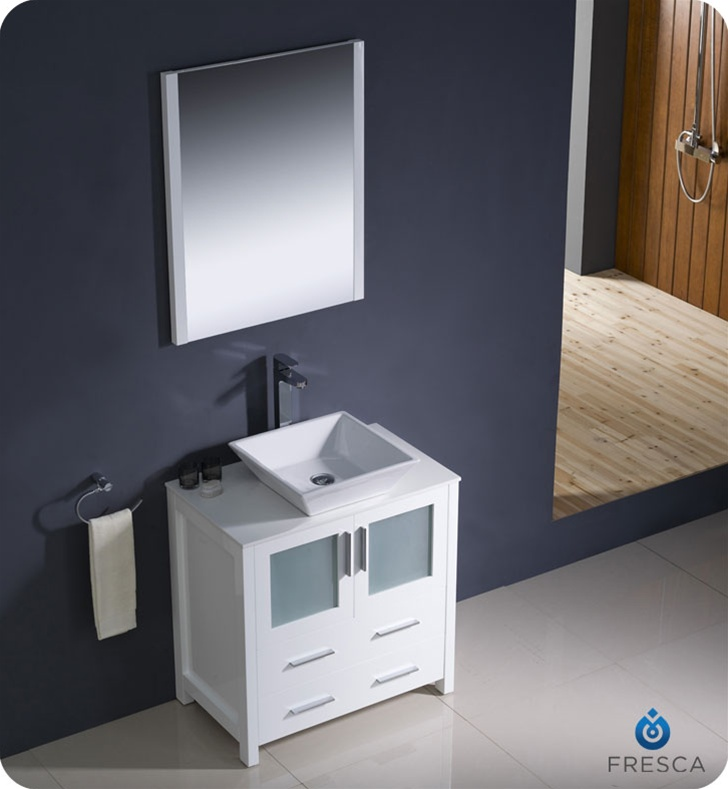 30u2033 Torino White Modern Bathroom Vanity W/ Vessel Sink