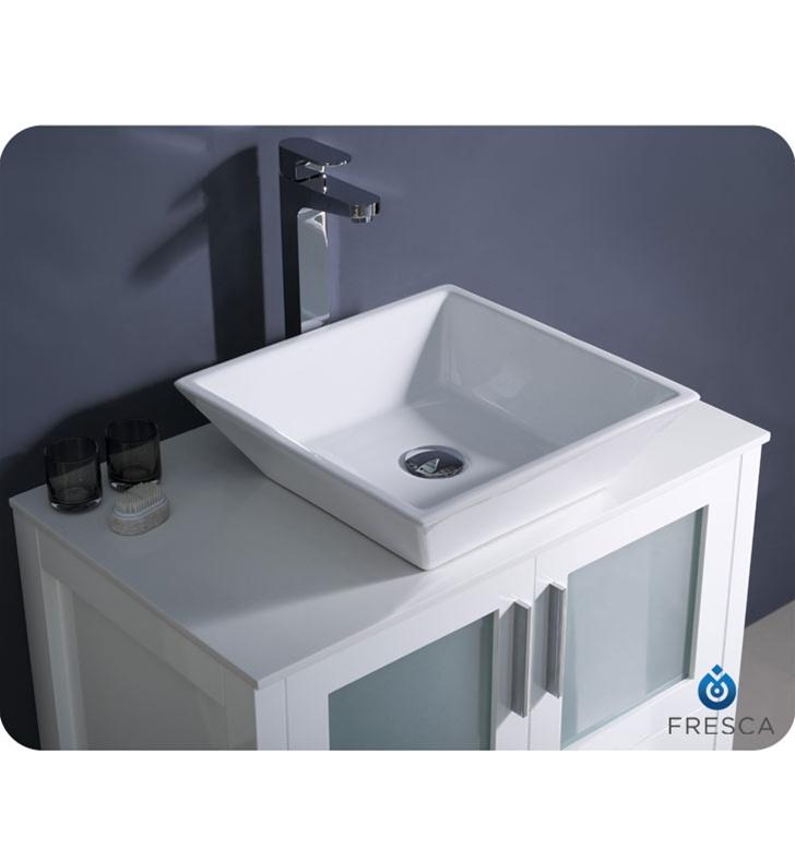 30? Torino White Modern Bathroom Vanity w/ Vessel Sink Platinum ...