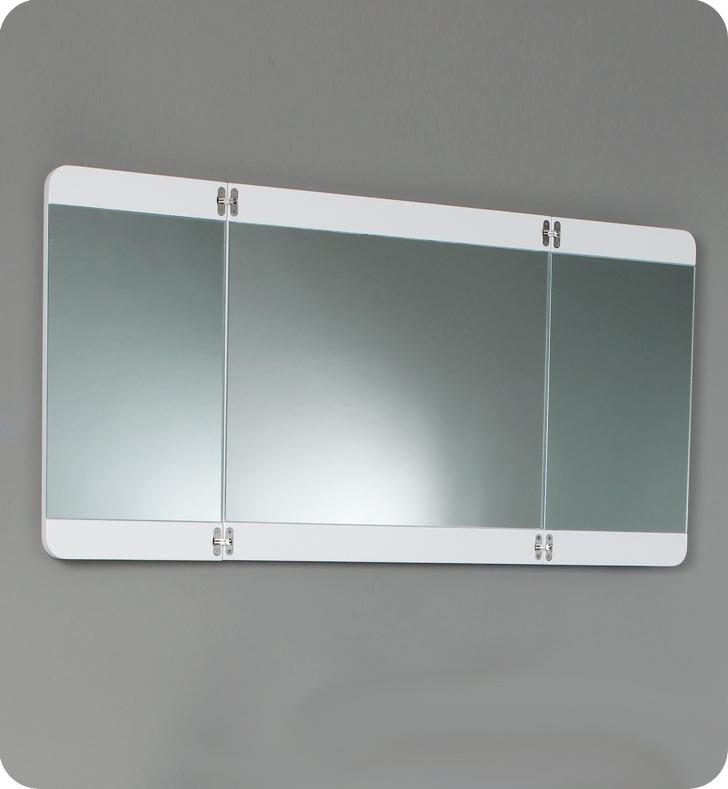 36 Energia White Modern Bathroom Vanity W Three Panel