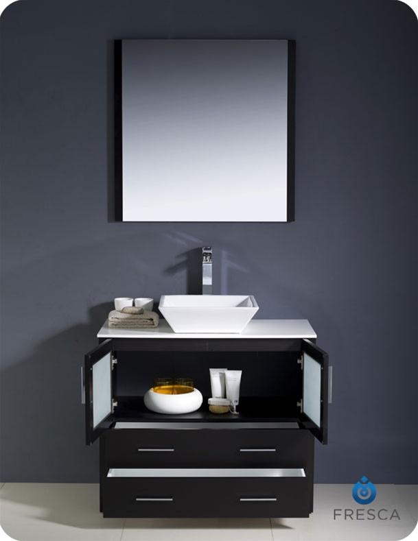Torino espresso modern bathroom vanity w vessel sink platinum bath
