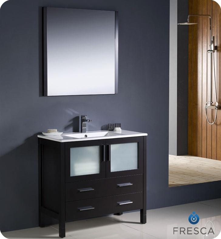 36 Torino Espresso Modern Bathroom Vanity W Integrated Sink