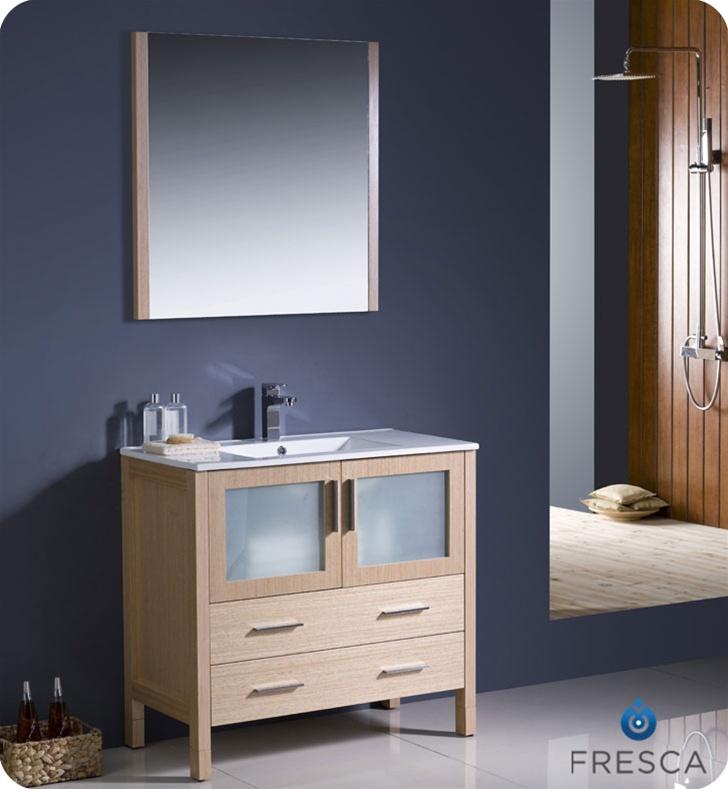 36u2033 Torino Light Oak Modern Bathroom Vanity ...