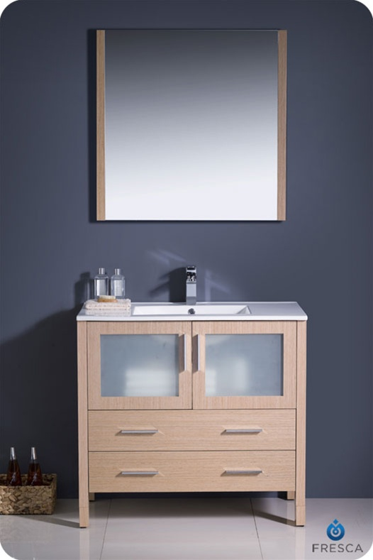 36 Torino Light Oak Modern Bathroom Vanity W Integrated Sink Platinum Bath