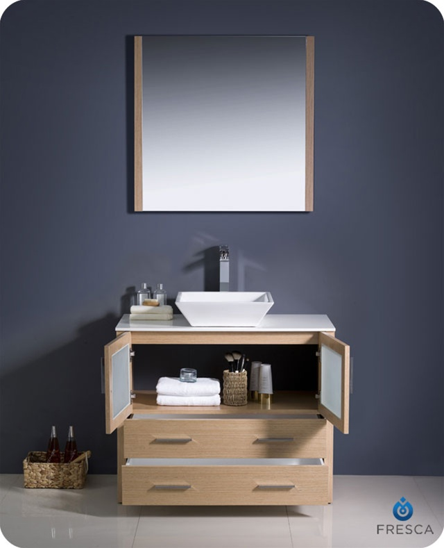 36 Torino Light Oak Modern Bathroom Vanity W Vessel Sink Platinum Bath