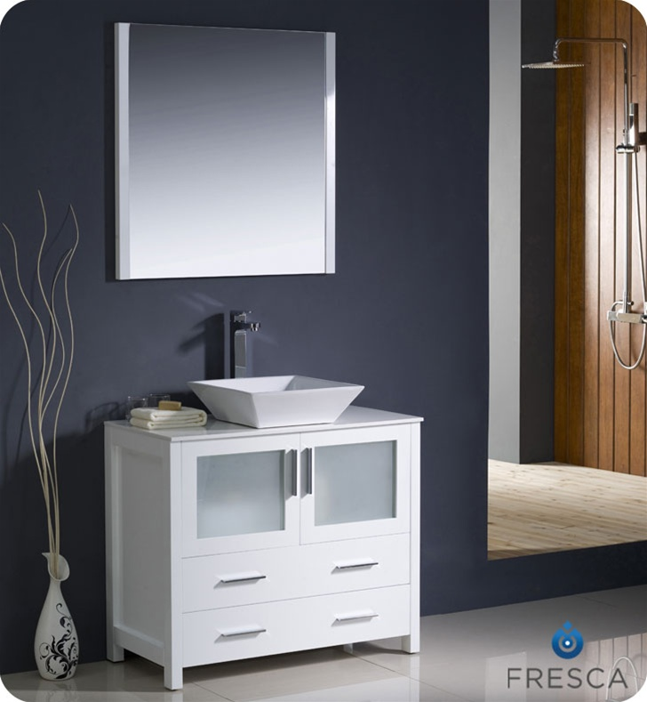36 Torino White Modern Bathroom Vanity W Vessel Sink