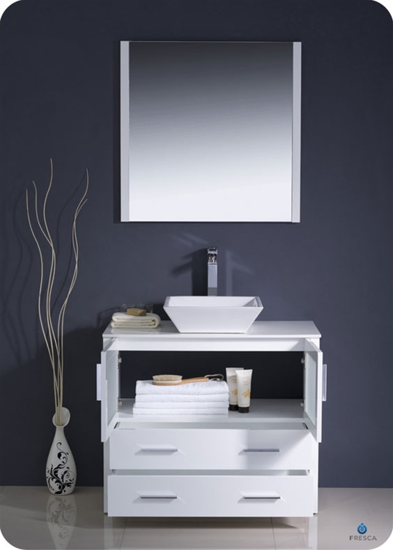 36″ Torino White Modern Bathroom Vanity w/ Vessel Sink | Platinum on 36 white single vanity, 36 inch wall mount vanity, pottery barn double sink vanity, 36 white kitchen sink, 36 inch white vanity, 36 white cabinets, utility sink vanity, allen roth 36-in vanity, 36 white vanity with top,