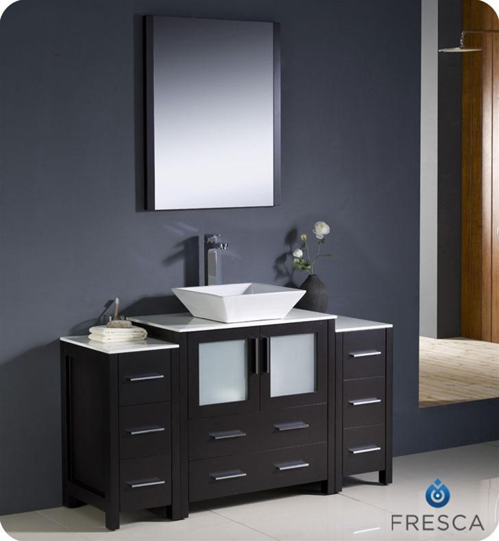 54 Torino Espresso Modern Bathroom Vanity W 2 Side Cabinets