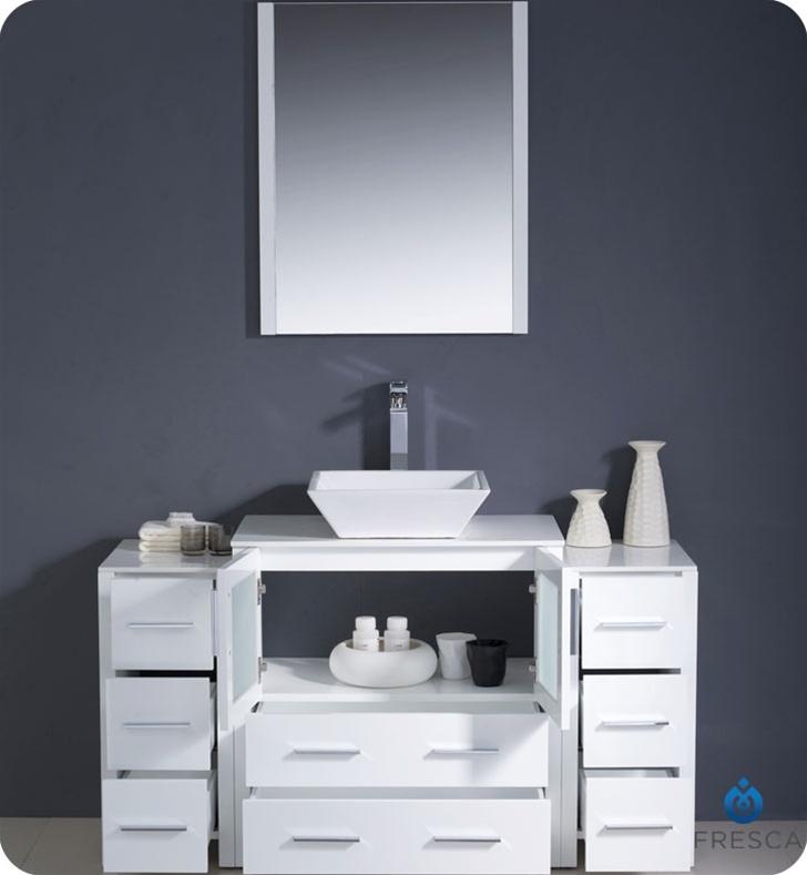 54u2033 Torino White Modern Bathroom Vanity W/ 2 Side Cabinets ...