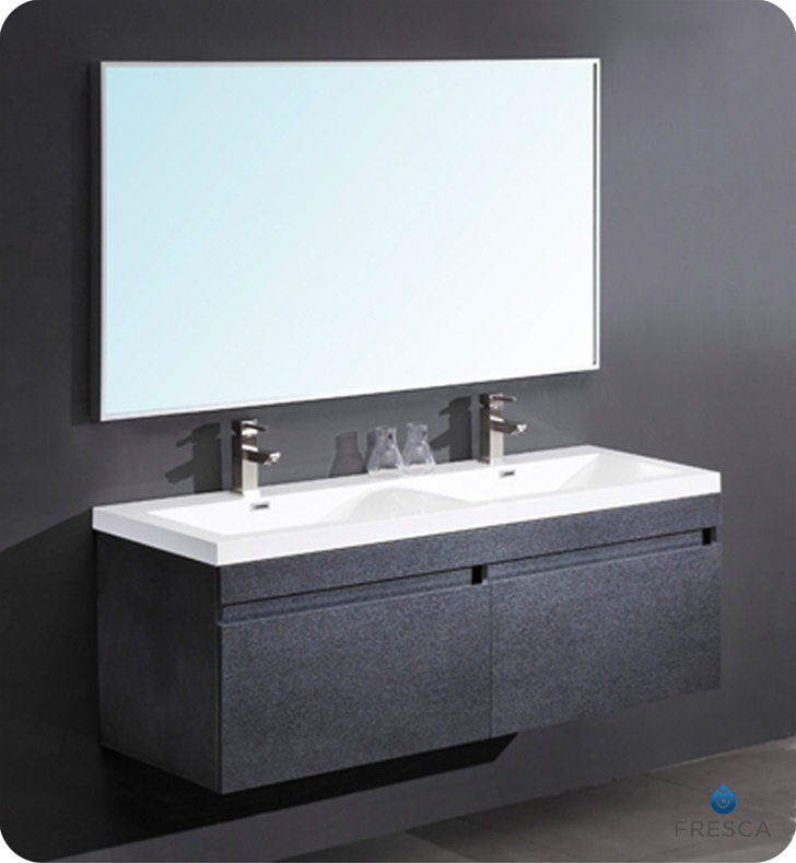 56u2033 Largo Black Modern Bathroom Vanity W/ Wavy Double Sinks