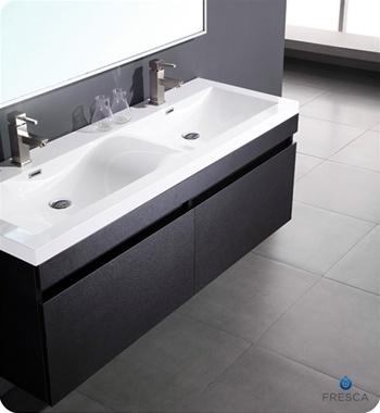 56″ Largo Black Modern Bathroom Vanity w/ Wavy Double ...
