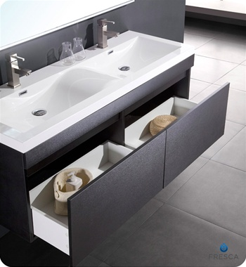 56 double sink bathroom vanity 56 largo black modern bathroom vanity w wavy 21853