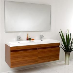 56 Largo Teak Modern Bathroom Vanity W Wavy Double Sinks
