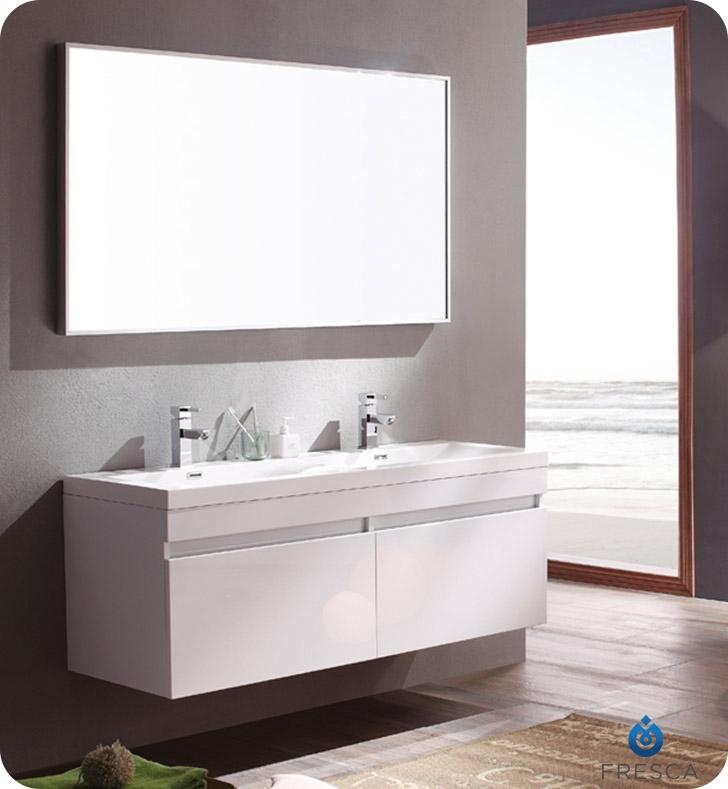 56 Largo White Modern Bathroom Vanity W Wavy Double Sinks