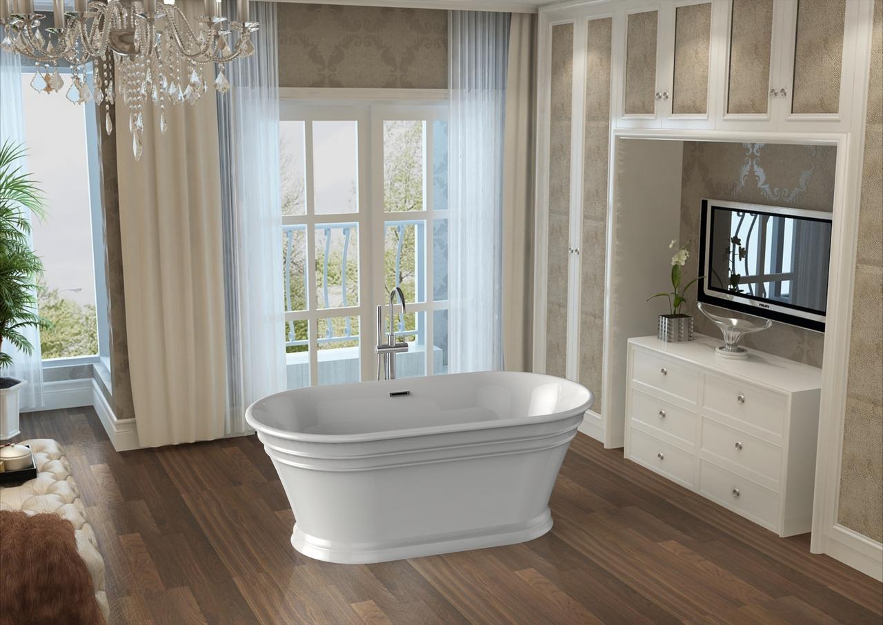59″ Coronado Freestanding Soaker Tub & Ballade Floor-Mounted Tub ...