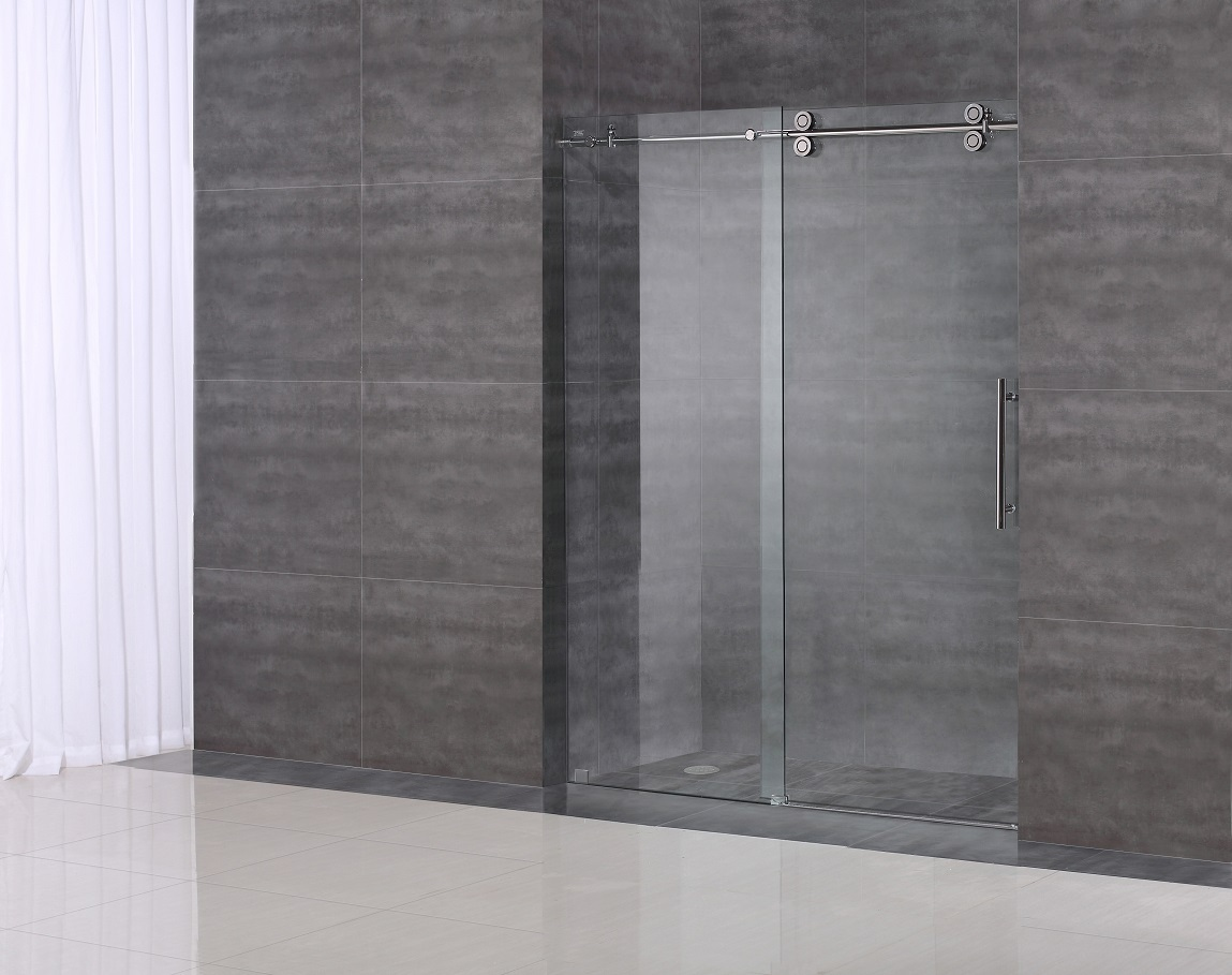 LANGHAM COMPLETELY FRAMELESS SLIDING ALCOVE SHOWER DOOR | Platinum Bath