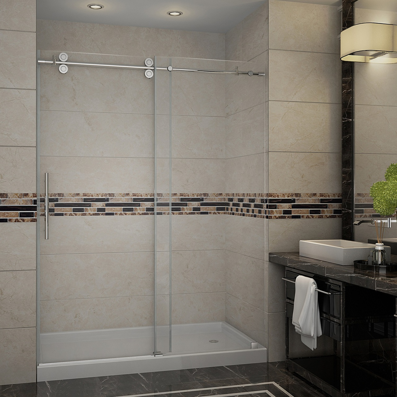 Langham Completely Frameless Sliding Alcove Shower Door Platinum Bath
