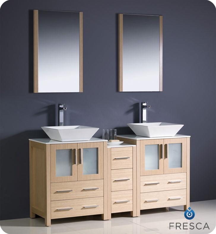 60 Torino Light Oak Modern Double Sink Bathroom Vanity W Side