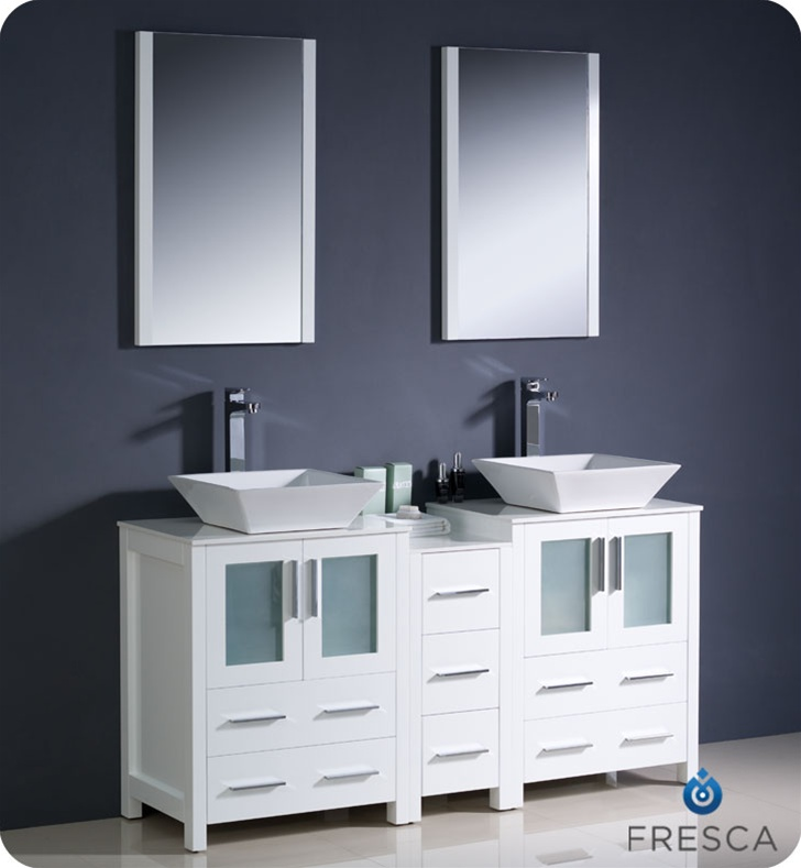 60u2033 Torino White Modern Double Sink Bathroom Vanity ...