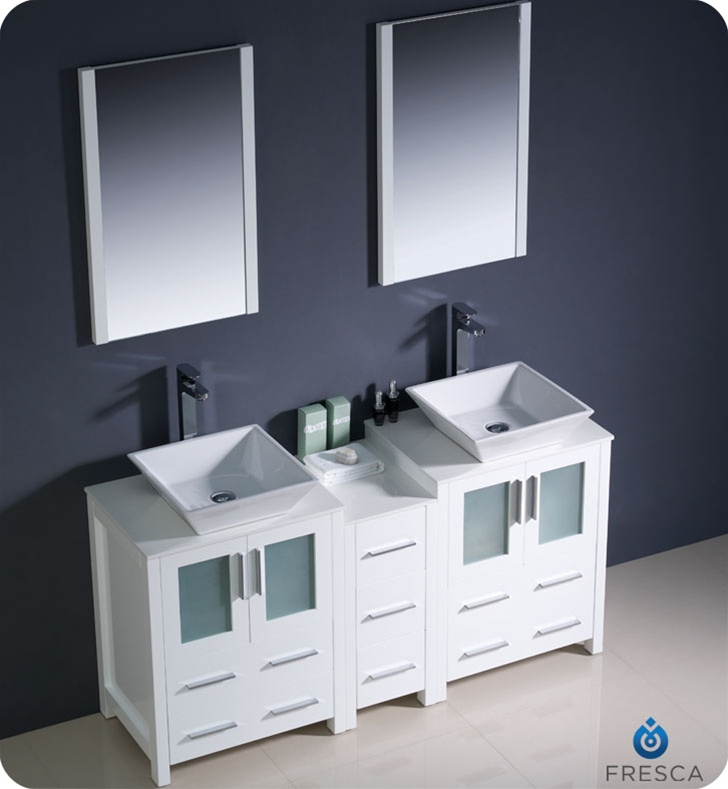 60 Torino White Modern Double Sink Bathroom Vanity W Side Cabinet Vessel Sinks