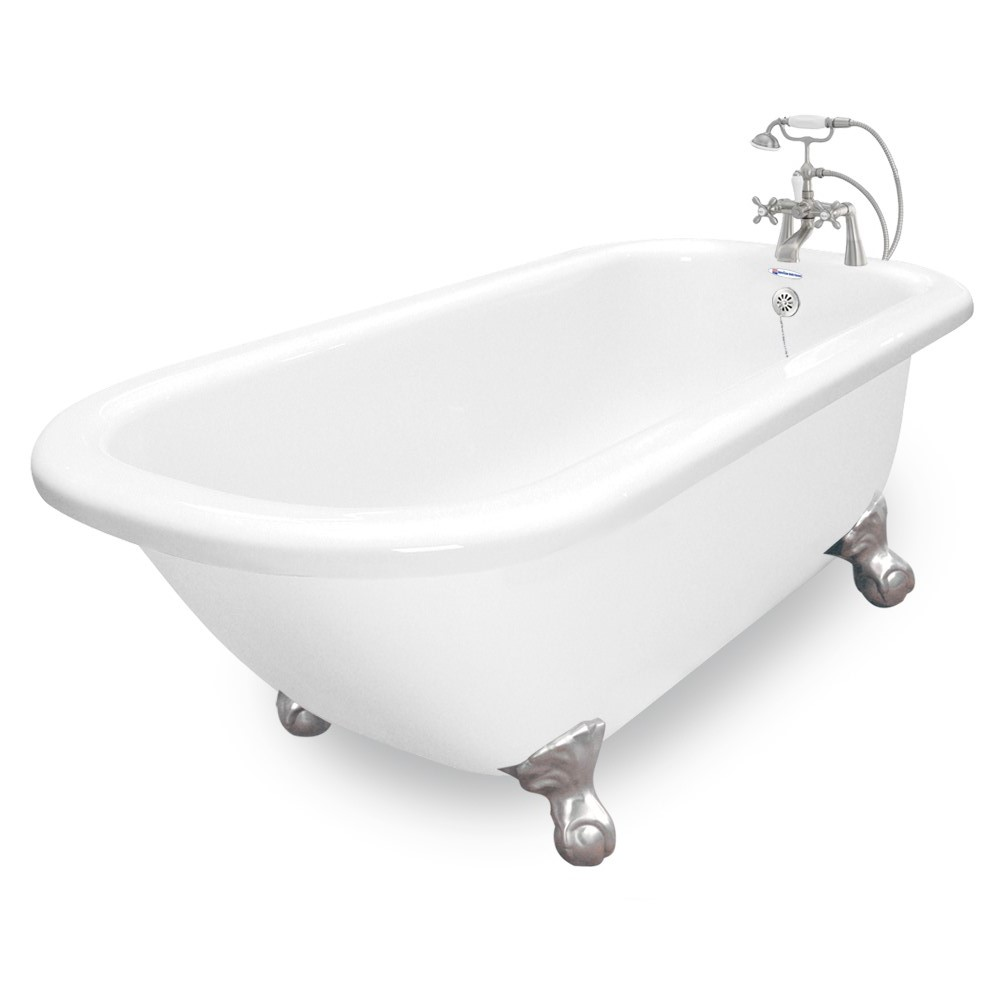 60 trinity white acrastone package in satin nickel for Cast iron tubs vs acrylic