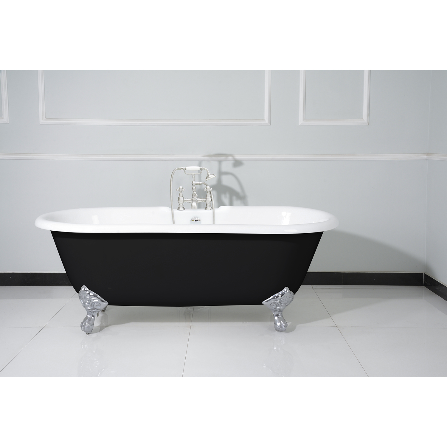 66 Double Ended Clawfoot Tub With 7 Inch Faucet Drillings And Feet Black White Polished Chrome