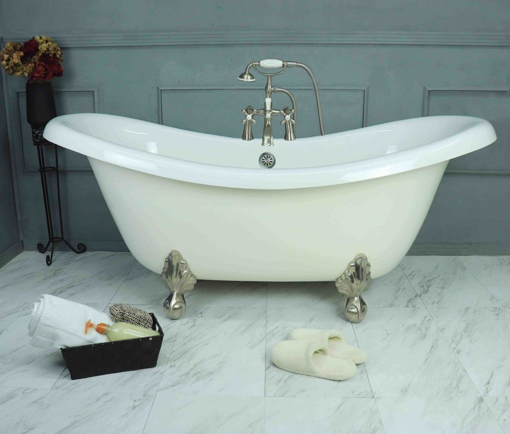 67″ Double Slipper Clawfoot Bathtub | Platinum Bath