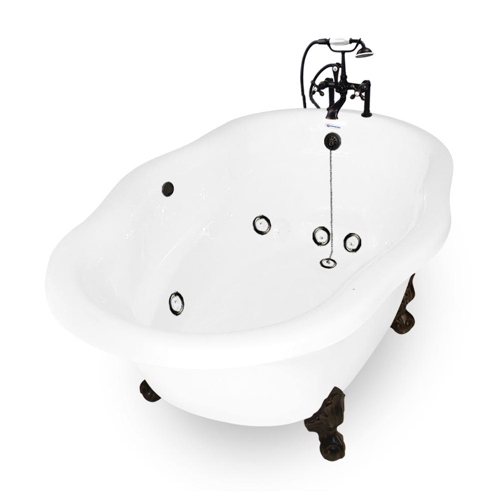 72 Inch Caspian Clic Whirlpool Clawfoot Bathtub