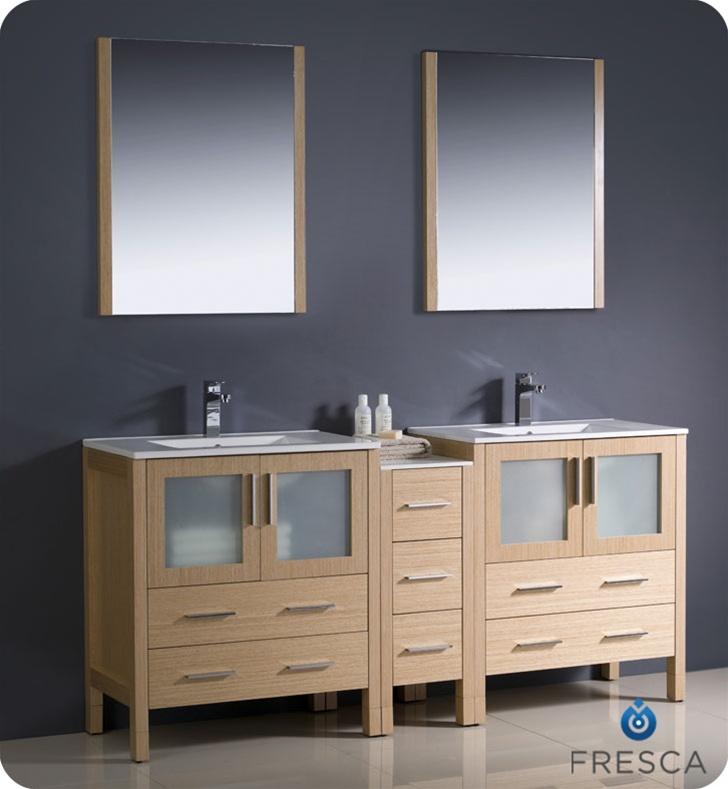 72 Torino Light Oak Modern Double Sink Bathroom Vanity W Side