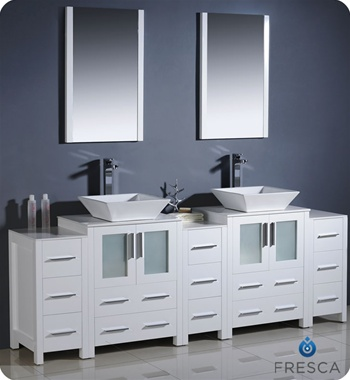 Torino White Modern Double Sink Bathroom Vanity W Side - Modern double sink bathroom vanity cabinets